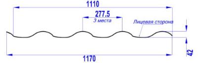 Металлочерепица Монтерроса размеры