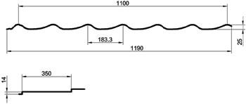 Металлочерепица Монтеррей размеры